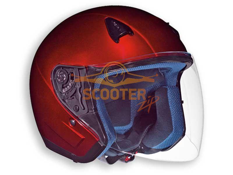 Шлем (открытый со стеклом) NT-200 Solid красный глянцевый