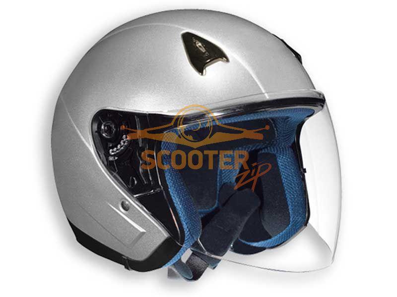 Шлем (открытый со стеклом) NT-200 Solid серебристый глянцевый