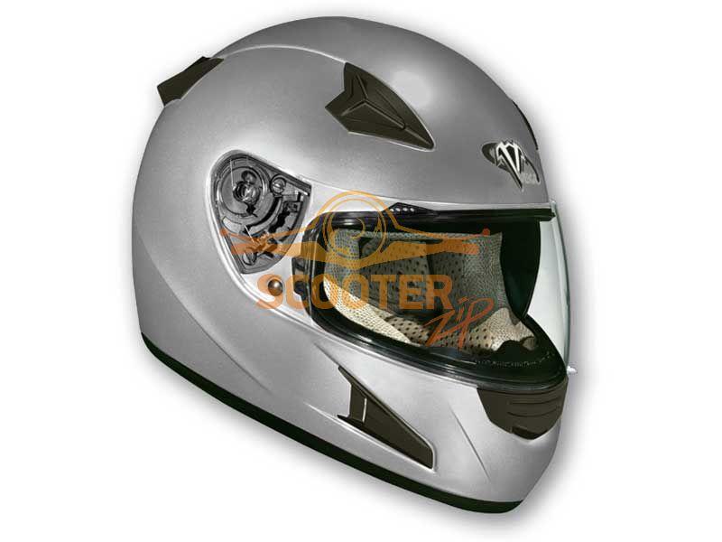 Шлем (интеграл)  HD188  Solid  серебристый глянцевый