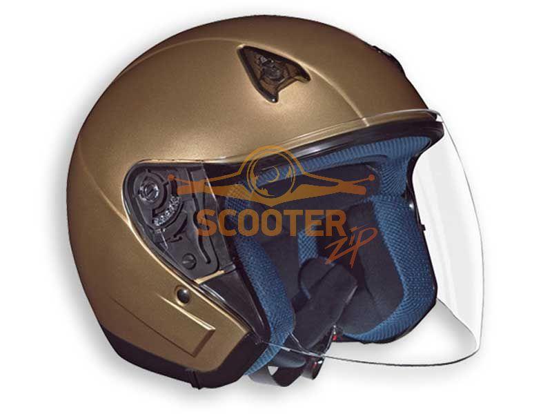 Шлем (открытый со стеклом) NT-200 Solid золотистый глянцевый