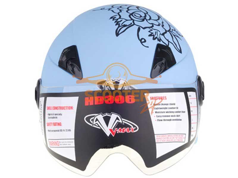Шлем (открытый со стеклом) VEGA HD306 JR Tiki image 2. HD306-BlueAloha-front.jpg.
