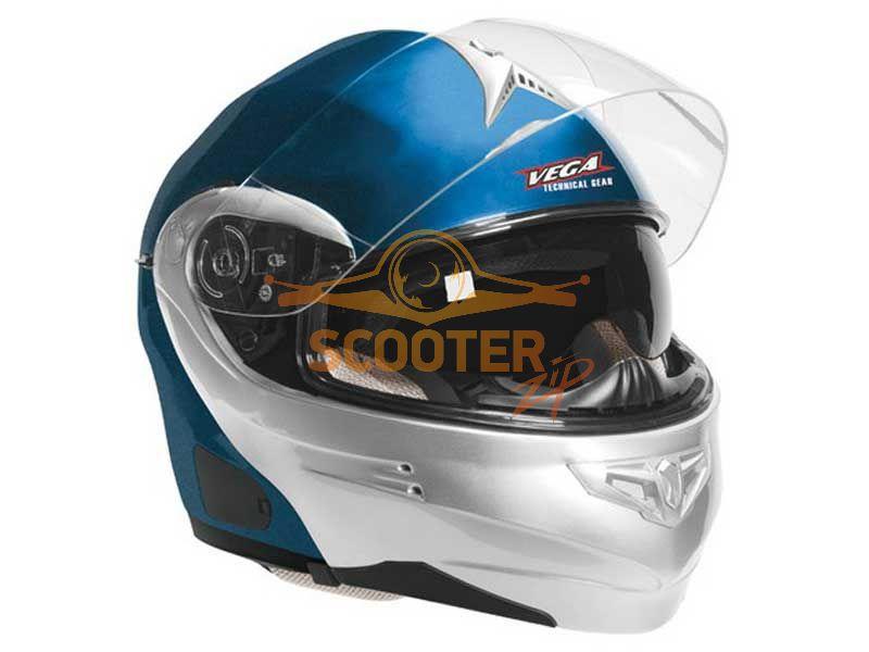 Шлем (модуляр) HD185 Two Tone синий серебристый глянцевый