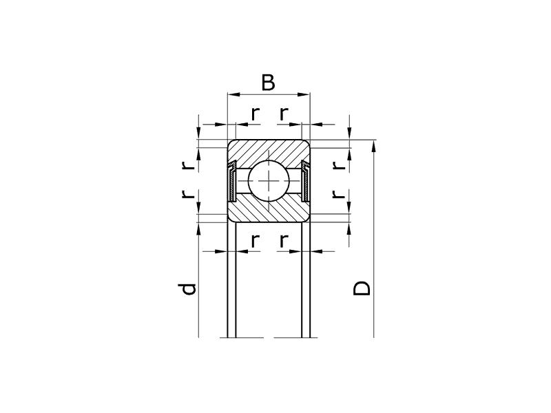 Подшипник 607 2RS (ГОСТ 180017) 7x19x6 2RS с двухсторонним уплотнением 8-180017 — купить в Москве по цене 49 руб.