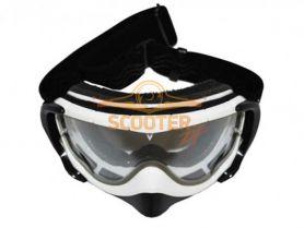 Очки мотокросс/снегоход (двойное стекло) VEGA 74027M-01 белые глянцевые