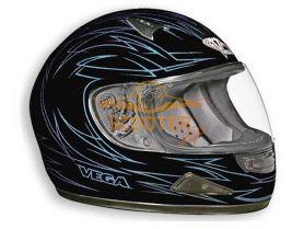 Шлем (интеграл)  HD188  Pinstripe синий/черн. матовый