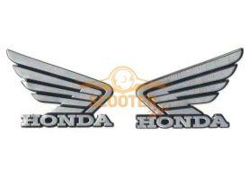 Наклейки (пара) (10х11) эмблемы Honda silver (метал)
