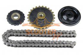 Комплект звезд + цепь привода ГРМ (82L) для мопеда с двигателем 4T 139FMB 50сс