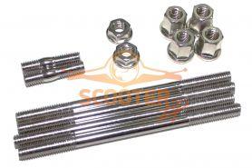 Шпильки цилиндра+глушителя (компл. 6шт. с гайками) для скутера Suzuki (Тайвань)