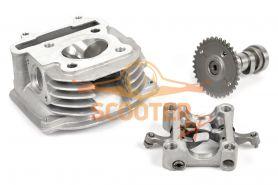 Головка цилиндра для скутера с двигателем 4T 157QMJ 150cc d-57,4 в сборе с клапанами  и распредвалом