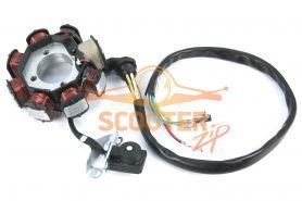 Статор генератора для скутера с двигателем 4T 152QMI, 157QMJ  8 катушек,3 отверстия крепления