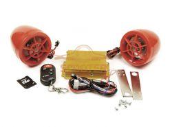 Мотосигнализация со встроенной аудиосистемой (FM радио, USB) красная