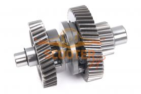 Вал КПП с шестернями (L=117mm) для скутера с двигателем 4T 157QMJ; IRBIS DINGO T150