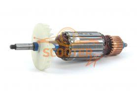 Ротор (Якорь) ИНТЕРСКОЛ для рубанка Р-102/1100ЭМ (до 28.02.2009), Р-102/1100ЭМ (с 01.03.2009) (L-166.5 мм, D-38 мм, резьба М6 (шаг 1.0 мм))