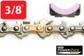 Цепь шаг 3/8, посадка 1.3mm 49 звеньев + заточной камень PowerSharp OREGON